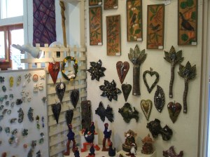 Christine's pottery -  Terry's wood carvings