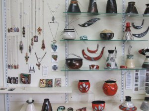 Marea's raku pottery and Linda's jewellry art