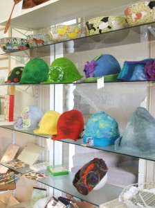 Felted hats and Hank's pottery
